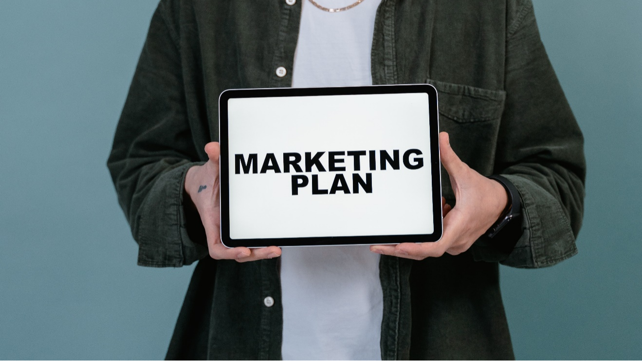 marketing plan on an electronic tablet